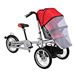 Tdogs Baby Stroller, Kids Tricycles One/Two Seat Folding Baby Bicycle Stroller Carrier Mom Bicycle Pushchair 3 to 5 Years