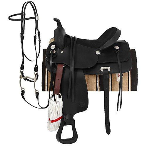 King Series Trail Saddle - King Basic Leather Trail Saddle Package 17 Black