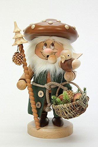 German Incense Smokers Gnome Mushroom Man - 27cm / 11 inch - Christian Ulbricht by Authentic German Erzgebirge Handcraft