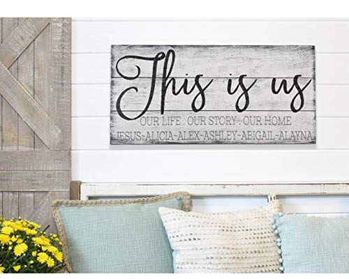yyyhkkk Placa de Madera con Texto en inglés This Is Us Wood con ...