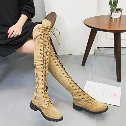 High Boots High Slim Over Boots Retro The Lace Knee Heels Shoes Stretch up Women FALAIDUO Fashion Khaki Faux fzvq66