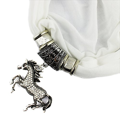 Horse Costume Diy (PendantScarf Rhinestones Horse Pendant DIY Jewelry Costume Scarf (White))