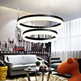 LED Chandeliers Circle Light Ring Modern Minimalist Ring Living Room loft Creative Personality Bedroom Dining Room Lighting Restaurant (Black, 40cm+60cm) Review