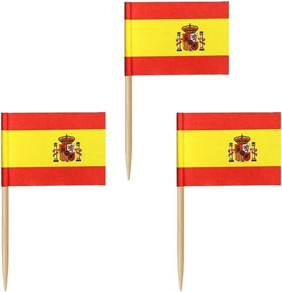 Amosfun 100 Piezas Mini Bandera de España Cupcake Toppers España Palillo de Dientes Bandera Palillos de Madera Cóctel Selecciones de Frutas para Decoración de Fiesta Deportiva de País Mundial: Amazon.es: Hogar