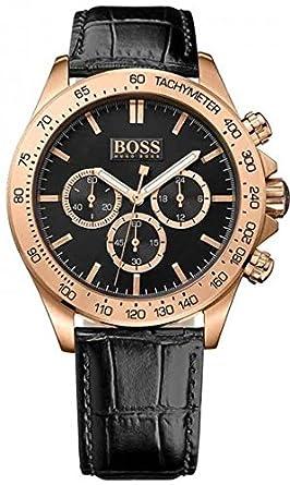 Amazon Com Hugo Boss Ikon Rose Gold Black Leather Mens Watch