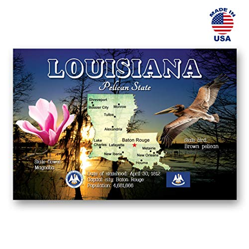 - LOUISIANA MAP postcard set of 20 identical postcards. LA state map post cards. Made in USA.