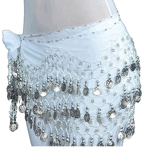 [Crazy K&A (13 Colors for Choosing) Chiffon Dangling Belly Dance Dancing Waist Chain Hip Scarf Costume Belt with 128 Silver Coins] (Scarf Coin Belly Dance Costumes)