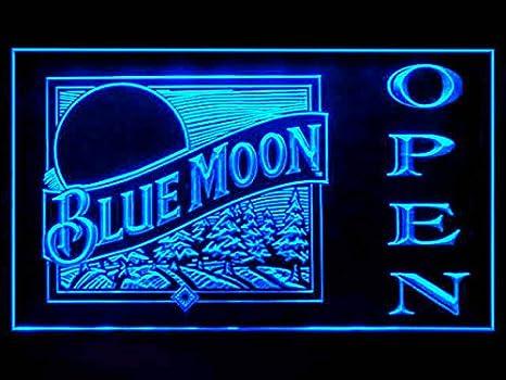 Amazon.com: Blue Moon Beer abiertos Bebida Luz LED SIGNO ...