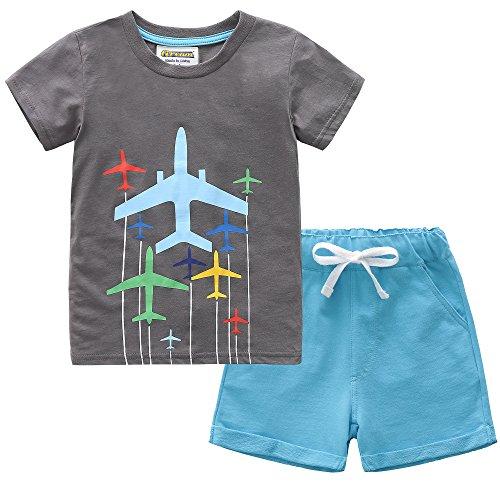 Drawstring Shirt - Fiream Boys Cotton Summer Sets Shortsleeve Space Pattern t-Shirts and Shorts 2 pcs Clothing Sets(18024,2T/2-3YRS)