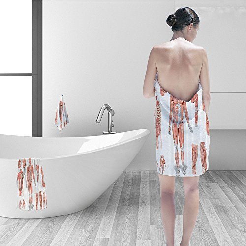 Nalahomeqq Hand towel set Human Anatomy Inner Muscle System Skin Structure Cells Biology Health Medical Display Fabric Bathroom Decor Coral Grey by Nalahomeqq