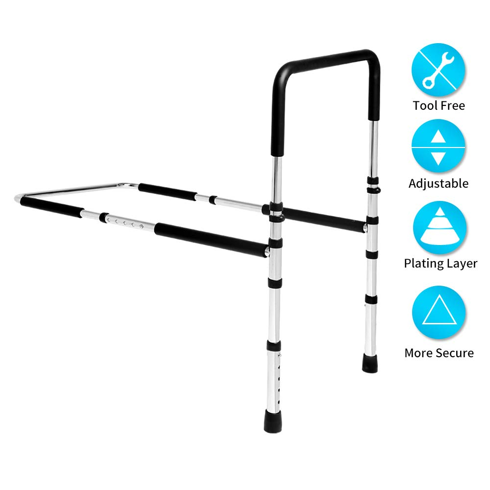 Brainzone Height Adjustable Hand Bed Rail Bed Assist Handle with Floor Supports