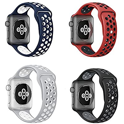 RUIYI Apple Watch Band 38/42MM,4PCS Sport Silicone Replacement Band Strap for iwatch Series 1/2 Edition