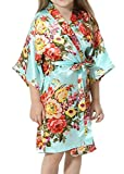 Sunny Bride Girl's Satin Floral Kimono Flower Girl Bridesmaid Getting Ready Robe for Wedding (S(7-8), Aqua)