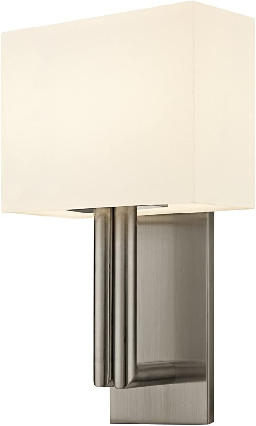Madison 2 Light Wall Sconce Satin Nickel Finish With Off White Linen Amazon Com