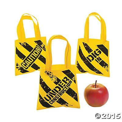 Construction Zone Mini Tote Bags - 12 ct by Party (Truck Birthday Party Favors)