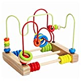 Cocoray Counting Circles Bead Abacus Wire Maze Wooden Roller Coaster Educational Toys for Baby Kids Children