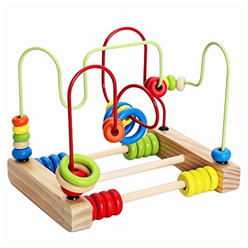Cocoray Counting Circles Bead Abacus Wire Maze Wooden Roller Coaster Educational Toys for Baby Kids Children by Cocoray
