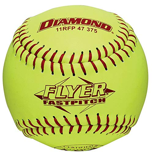 Diamond 11-Inch Leather Cover Fastpitch Softball, Polyurethane Core, ASA Stamped, ()