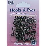 Hemline Hooks and Eyes - Black, Extra Large Size 9, 10 sets by Hemline