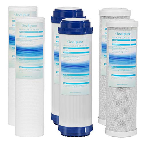 Geekpure Universal Compatible Reverse Osmosis Filter Replacement Pre-Filter Sets (2 x Sediment, 2 x Granular Carbon, 2 x Carbon Block for undersink RO. Pack of 6.Size :10x2.5)