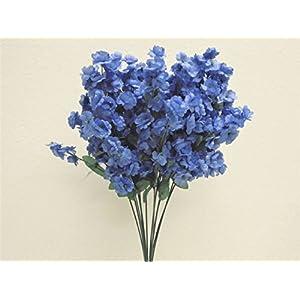 "12 Sprays Ruffle Baby Breath Filler Artificial Silk Flowers 15"" Stem 331 Blue 29"