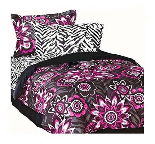 Teen Chic 8pc Rock Star Flower Burst Hot Pink and Black Full Size Comforter Set with Safari Zebra Stripe Sheet Set