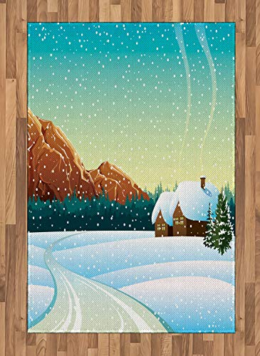 Lunarable Winter Scene Area Rug, Snowy Mountainside Country Houses Woodland Cartoonish Illustration, Flat Woven Accent Rug for Living Room Bedroom Dining Room, 4' X 5.7', Multicolor