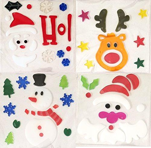 Christmas Window Gel Clings 4 packs (Reindeer, Snowman, 2 x Santa)