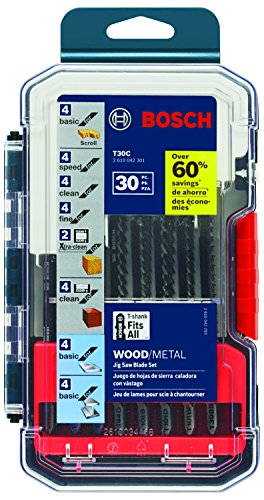 Shank Wood Cutting Jigsaw Blade (Bosch T30C 30-Piece T-Shank Wood and Metal Cutting Jig Saw Blade Set)
