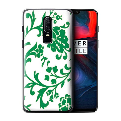 STUFF4 Phone Case/Cover for OnePlus 6/Green Flowers Design/Floral Stamp Pattern (Pattern Plastic Hardback Cover)