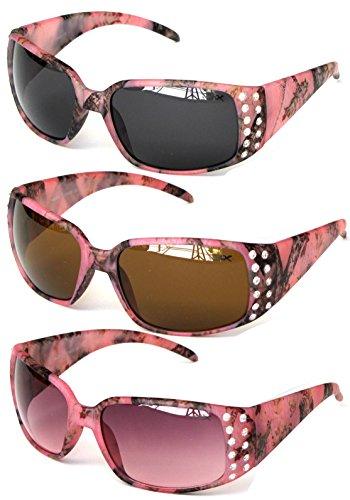 VertX Women's Pink Camouflage Sunglasses 3 Pack Rhinestone - Sunglasses Camo Pink