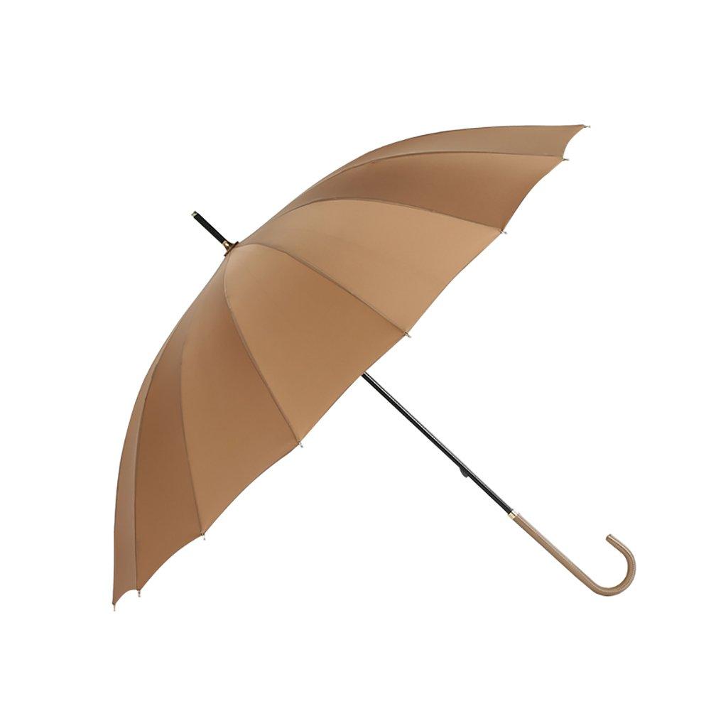 Vintage Long Handle Umbrella lady Girl Style Stick Umbrella 16K (Color : Khaki)