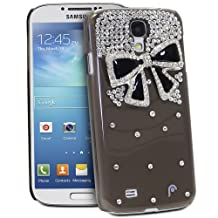 Fosmon GEM Series 3D Ribbon, Rhinestone Flower, Bow Bling Design Case for Samsung Galaxy S4 IV / i9500 - Fosmon Retail Packaging (Bow 3D Design, Smoke and Black)