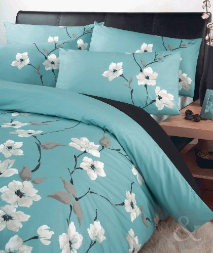 Copripiumino Turchese.Buy Just Contempo Oriental Floral Duvet Cover Set Double Blue