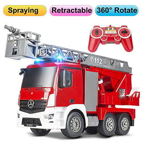 DOUBLE  E RC Fire Truck Remote Control Fire Engine 10 Channel with Water Pump Lights&Sounds Extendable Ladder Rechargeable Battery 2.4GHz Control (Firetruck Remote Controlled)