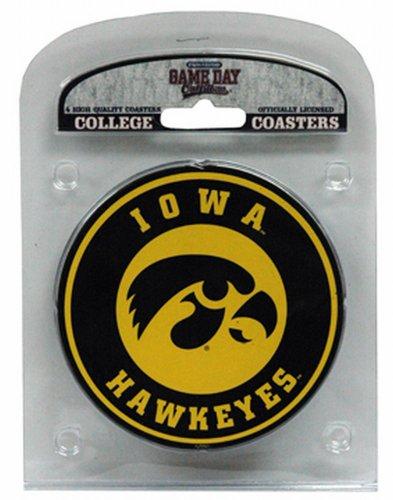 NCAA Iowa Hawkeyes Coaster Set with Team Logo (Pack of (Iowa Hawkeyes Ncaa Beverage)