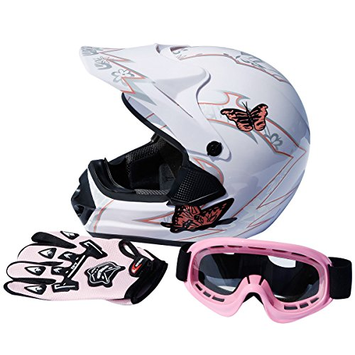 TCMT DOT Adult Dirt Bike Motocross ATV Motorcycle Off Road Helmet Goggles Gloves (XL, White) (Best Womens Motorcycle Helmets Reviews)