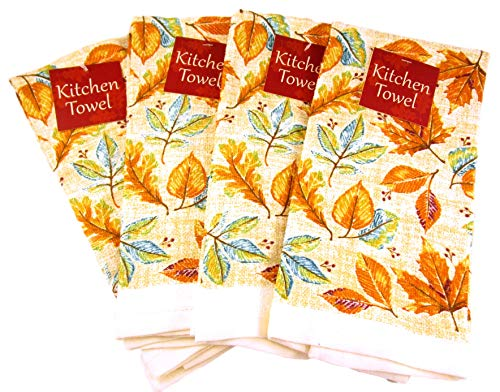 (Autumn Thanksgiving Harvest Dish Towels - Set of Four Cotton Dish Towels (Mixed Leaves - Orange and Teal))