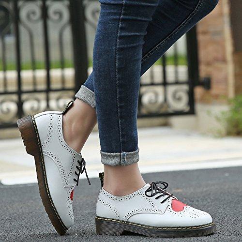 Jamron Mujer Elegante Salvaje Oxfords Zapatos Comodidad Blanco Cuero Cordón Brogues Blanco