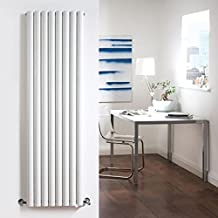 "New Revive Designer Heater Luxury White Vertical Double Panel - Steel Radiator Hydronic Warmer - 70"" x 18.6"" - Minimalist Chrome Angled Valves & Wall Fixing Brackets Included"