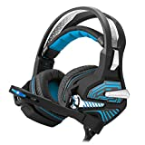 Mengshen USB Gaming Headset - with 7.1 Surround Stereo Sound, Microphone, Vibration Effect, Noise Isolation, Volume Control, LED Light - Designed for PC Gamers, GM9 Blue