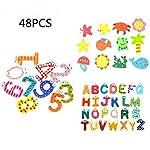 OKOK 48 Pcs Novelty Refrigerator Magnets Number Letters Animal Cartoon Fun Fridge Magnets, Toddlers Kids Educational Toy