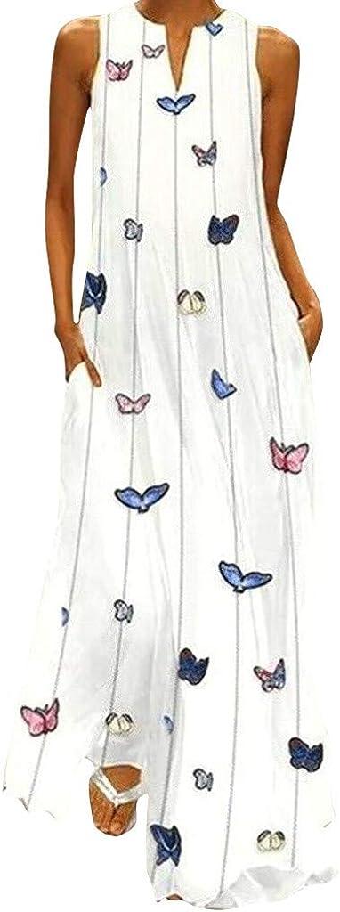 PANPANY Women Vintage Daily Casual Maxi Dress Sleeveless Cotton-Blend Halter Neck Dress Printed Floral Summer Dress Plus Size Mini Dress