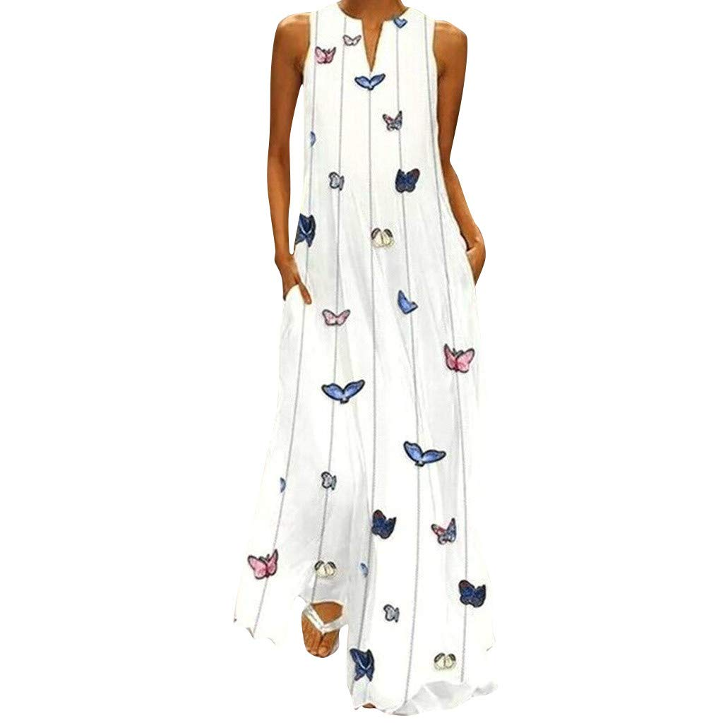 Usstore Women Maxi Dress Stripe Cartoon Insect Printed Robe Summer Casual Sleeveless V-Neck Vintage Pockets Daily Tall Sundress (XXXXXL, White) by Usstore_Women's Dress