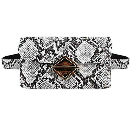Heidi Bag Women PU Leather Snakeskin Waist Bag Fashion Slim Fanny Pack Detachable Messenger Bag for Running Hiking Travel White ()