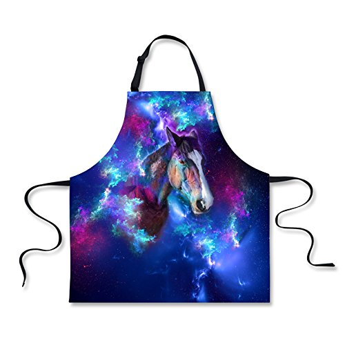 Horse Apron (HUGS IDEA Galaxy Horse Pattern Women Kitchen Cooking Retaurant Aprons with Adjustable Strap)