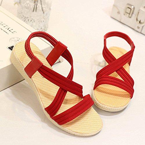 Minetom Mujeres Verano Dulce Romanas Bohemia Ocio Zapatos Dulce Peep Toe Sandalias Vendaje Plana Chancletas Zapatillas Playa Rojo