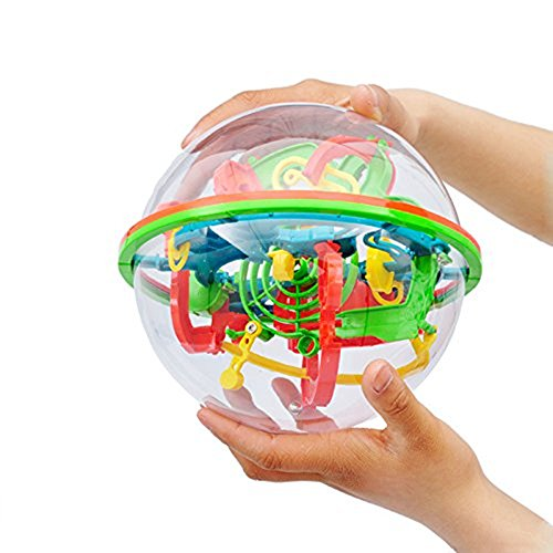 OWIKAR Magic 3D Maze Ball Intelligence Ball Labyrinth Puzzle Game Globe Toys 100 Challenging Levels Barriers Best Educational Toys For Children 5-15 Years - Pen Ball Stress Globe