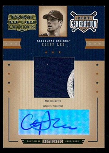 CLIFF LEE SIGNED GAME USED-WORN TEAM LOGO PATCH DONRUSS 2005 PRIME PATCHES CARD