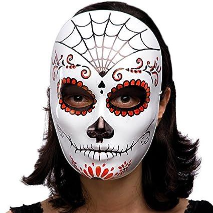 Carnival Toys Máscara de esqueleto decoración mexicana de plástico negro y rojo duro solo blanco [